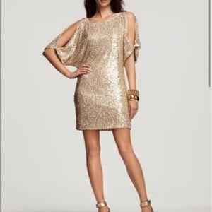 Stunning Aqua Gold Sequin Cold Shoulder Dress
